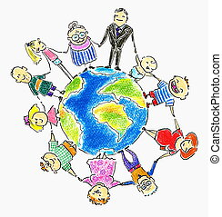 Global family-people different age around the Earth.Picture...