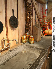 autumn in kitchen - kitchen background with autumn...