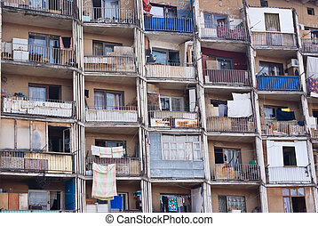 Old Soviet living Blocks - TBILISI, GEORGIA - JULY 23: Old...