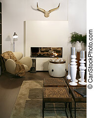 living room with fair-place and home decoration