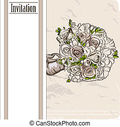 Vintage card with wedding bouquet. Vector illustration EPS10