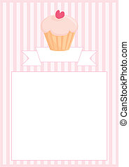 Vector menu muffin sweet pink card - Sweet vector retro...