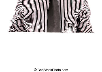 Mans chest in tie and striped shirt