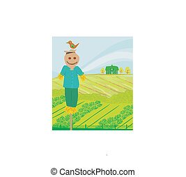 illustration of a farm in a beautiful nature