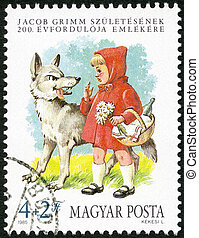 HUNGARY - 1985: shows Little Red Riding Hood and the Wolf,...