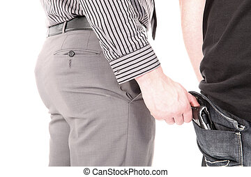 Pickpocket stealing a wallet - Smartly dressed male...