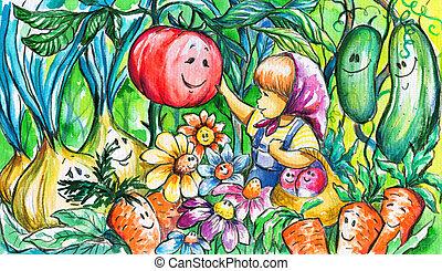 Gardener girl - Illustration of little girl in the...