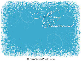 Blue Christmas background with snowflakes. - Christmas...