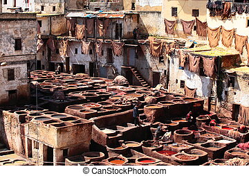 Tanneries of Fes, Morocco, AfricaOld tanks of the Fez's...