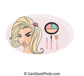 beautiful girl wearing half face makeup