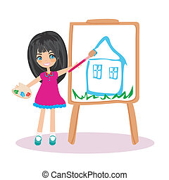 Little artist girl painting her dream house on large paper