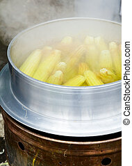Boiling corn cobs - Street food in Taiwan - corn being made...