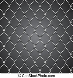 Metal fence on dark background
