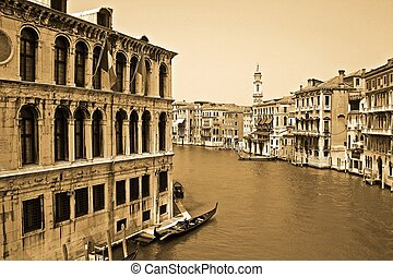 Canal in Venice, Italy - Vintage view of a canal in Venice,...