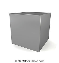 Blank cube 3d illustration on white background