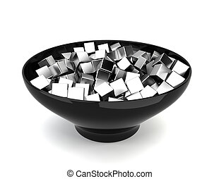 Colour cubes in bowl 3d illustration on white background