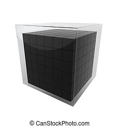 Box group in glass cube. 3d illustration on white background...
