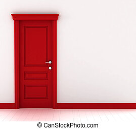 Red door 3d illustration on white background