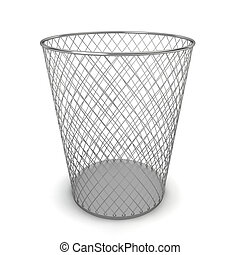 Trash can. 3d illustration on white background
