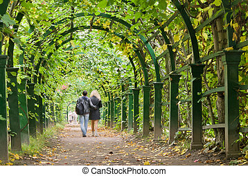 Garden tunnel - a couple walking in a garden tunnel