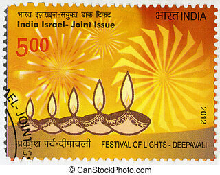 INDIA - CIRCA 2012: A stamp printed in India shows Festival...