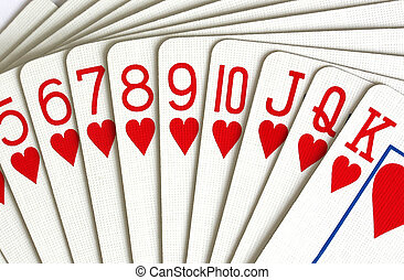 hearts playing cards - deck of hearts playing cards