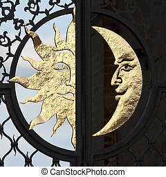 moon and sun - day and night with moon and sun