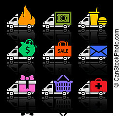 Delivery truck colored icons on a black background