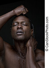 pretas, homem, água, rosto