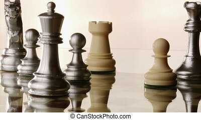 Fall of the chess king, white background