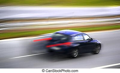 Car panning - A luxurious car speeding.