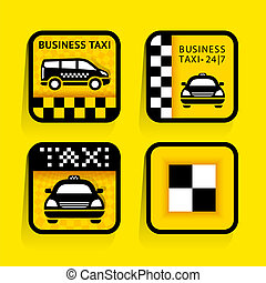Taxi - set labels square on the yellow background, vector...