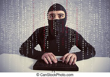 Hacker and computer virus concept - Concept of hacker at...