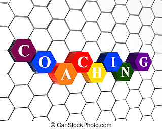 coaching in color hexagons in cellular structure - coaching...