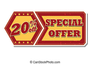 20 percentages off special offer - retro label - 20...