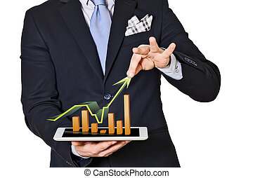 business man which extracts bar graphs and arrow