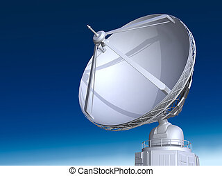 Big radio telescope on blue sky