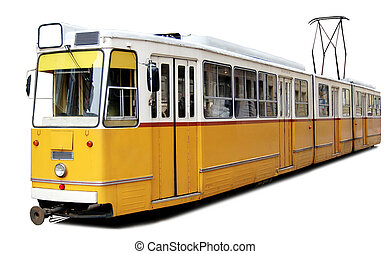 Orange tram - Traditional yellow trams downtown Budapest....