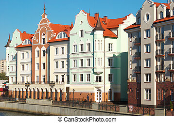 Houses on the waterfront in Kaliningrad - Houses in old...
