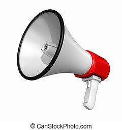 alto-falante, ou, megafone, -, isolado, branca, fundo