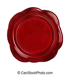 Wax seal - Red seal wax - isolated on white background