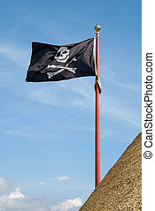 pirate flag with a skull and crossbones - jolly roger pirate...