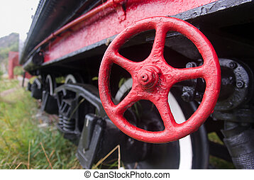 red valve - an old valve on an old steam locomotive