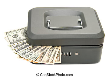 Closed cashbox with money isolated on white