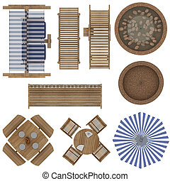 Outdoor Furniture Set - Set of Outdoor Furniture Top View...
