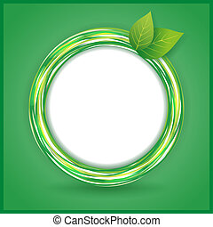 Abstract Eco background with leaves and circle - Abstract...