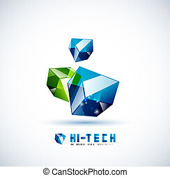 Modern 3d vector glass cube design template Abstract...