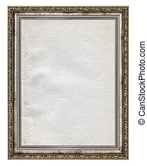 wooden frame with stained paper interior isolated on white