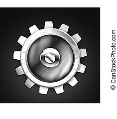 Vector metallic gear icon design - Icon - metallic gear...