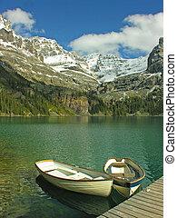 Boats on Lake O'hara, Yoho National Park, Canada